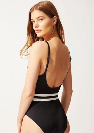 The Nina Belted One Piece Swimsuit Black