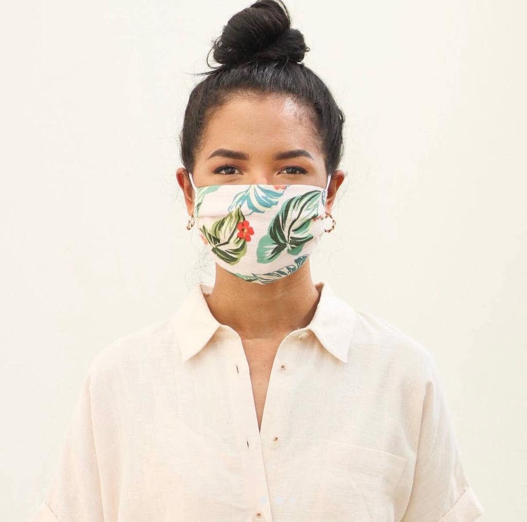 Tropical Pleated Face Mask