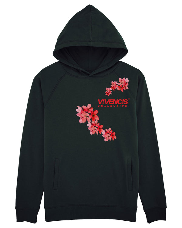 Red Patterns Hoodie - Black