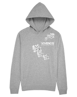 White Patterns Hoodie - Grey