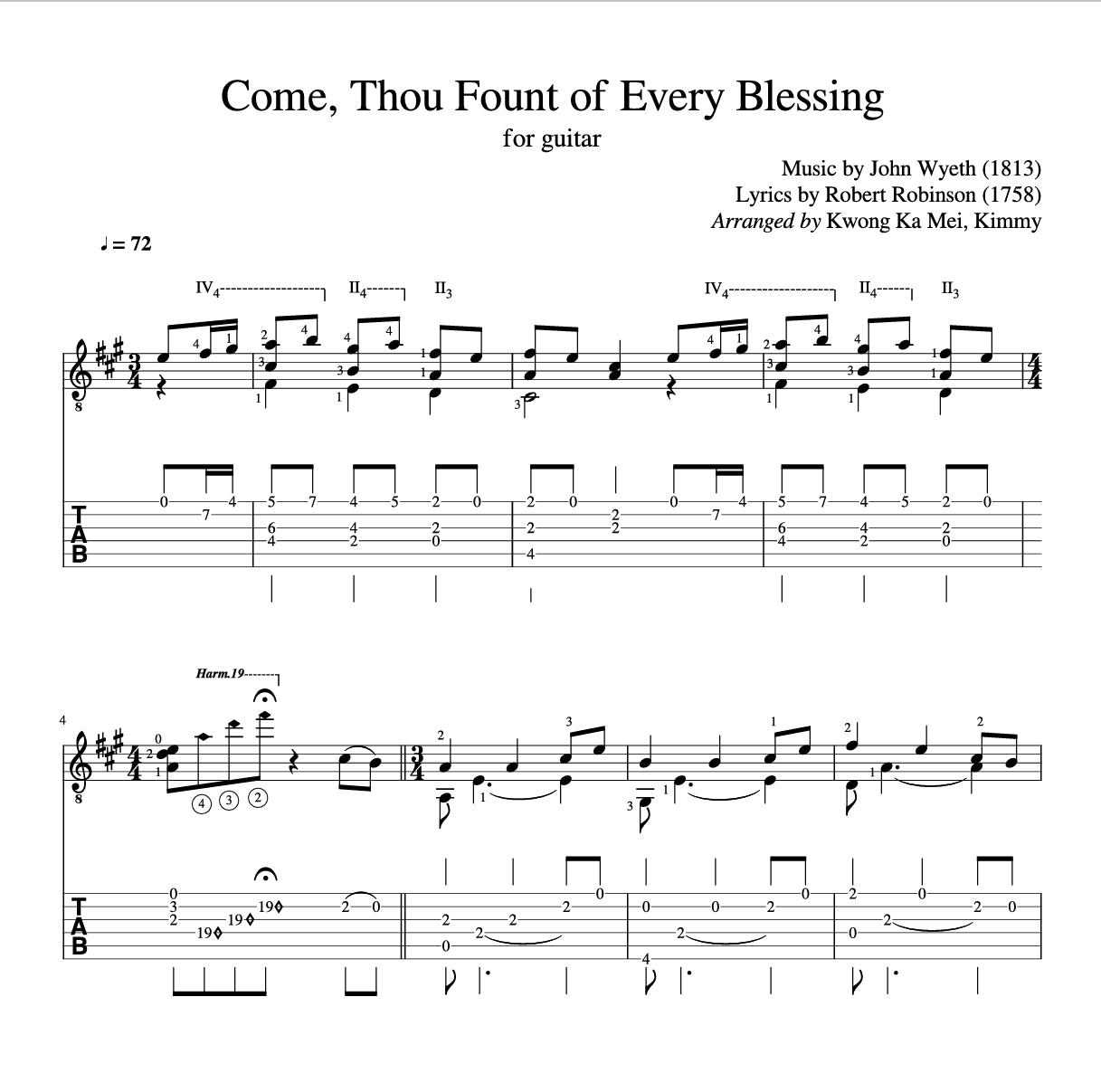 [Sheet+Tab] Come Thou Fount of Every Blessing (Hymn)