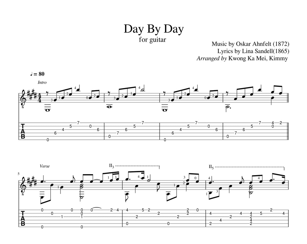 [Sheet+Tab] Day By Day (Hymn)