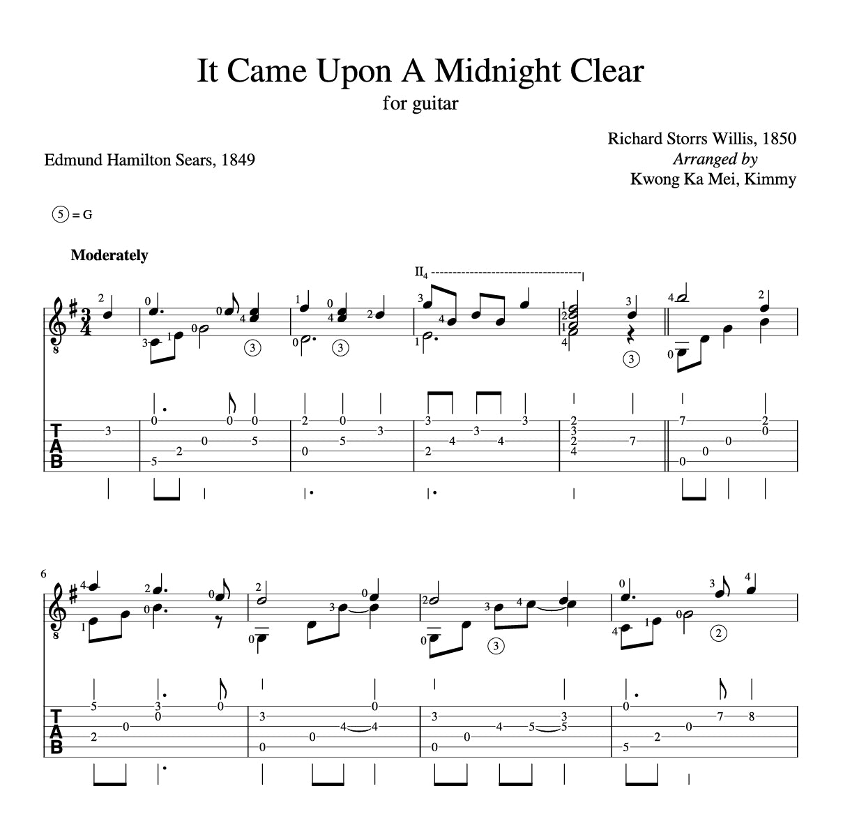 [Sheet+Tab] It Came Upon A Midnight Clear (Hymn)