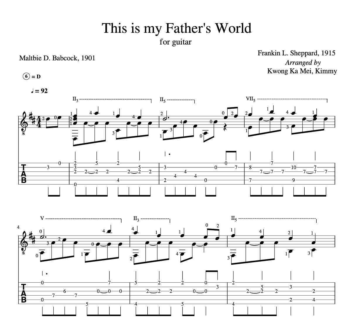 [Sheet+Tab] This is my Father's World (Hymn)