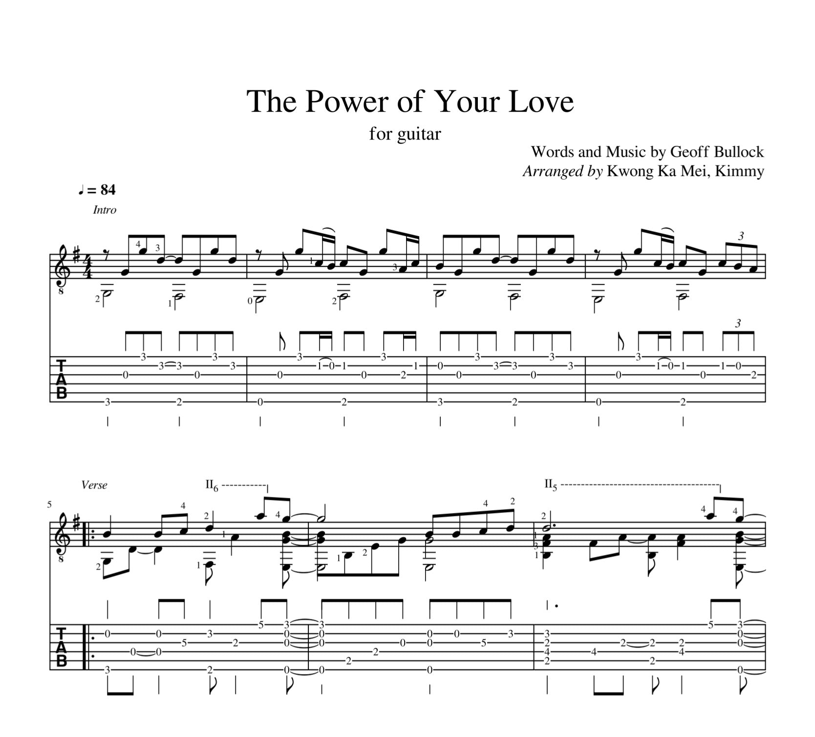 [Sheet+Tab] The Power Of Your Love (Hillsong Worship)