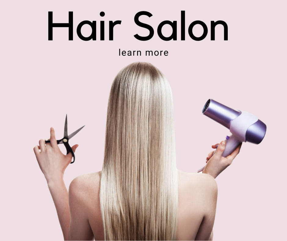 Learn more about the beauty bar by Kristina Ruggerio's hair salon. A blonde woman holds hair-cutting scissors and a blow dryer.