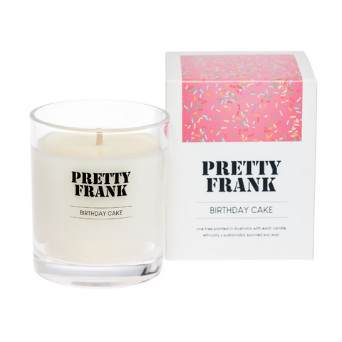 The infamous Birthday Cake scented candle by Sydney candlemaker, Leonie O'Brien of Pretty Frank