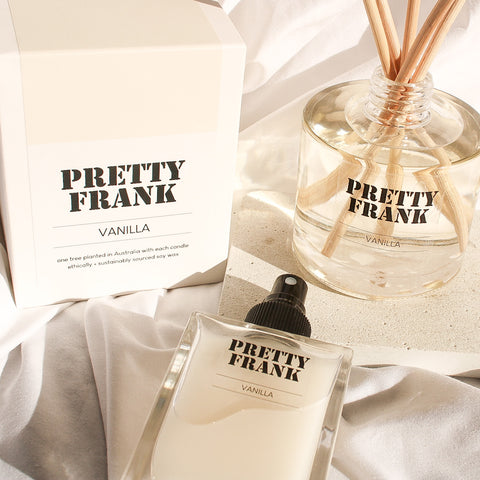 Vanilla fragrance products from Pretty Frank