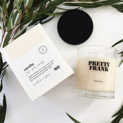 Vegan-friendly and environmentally friendly ingredients make up every Pretty Frank candle