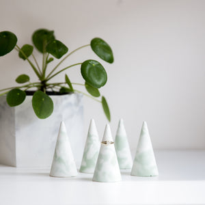 Jade Blend Concrete Ring Holder - Set of 3