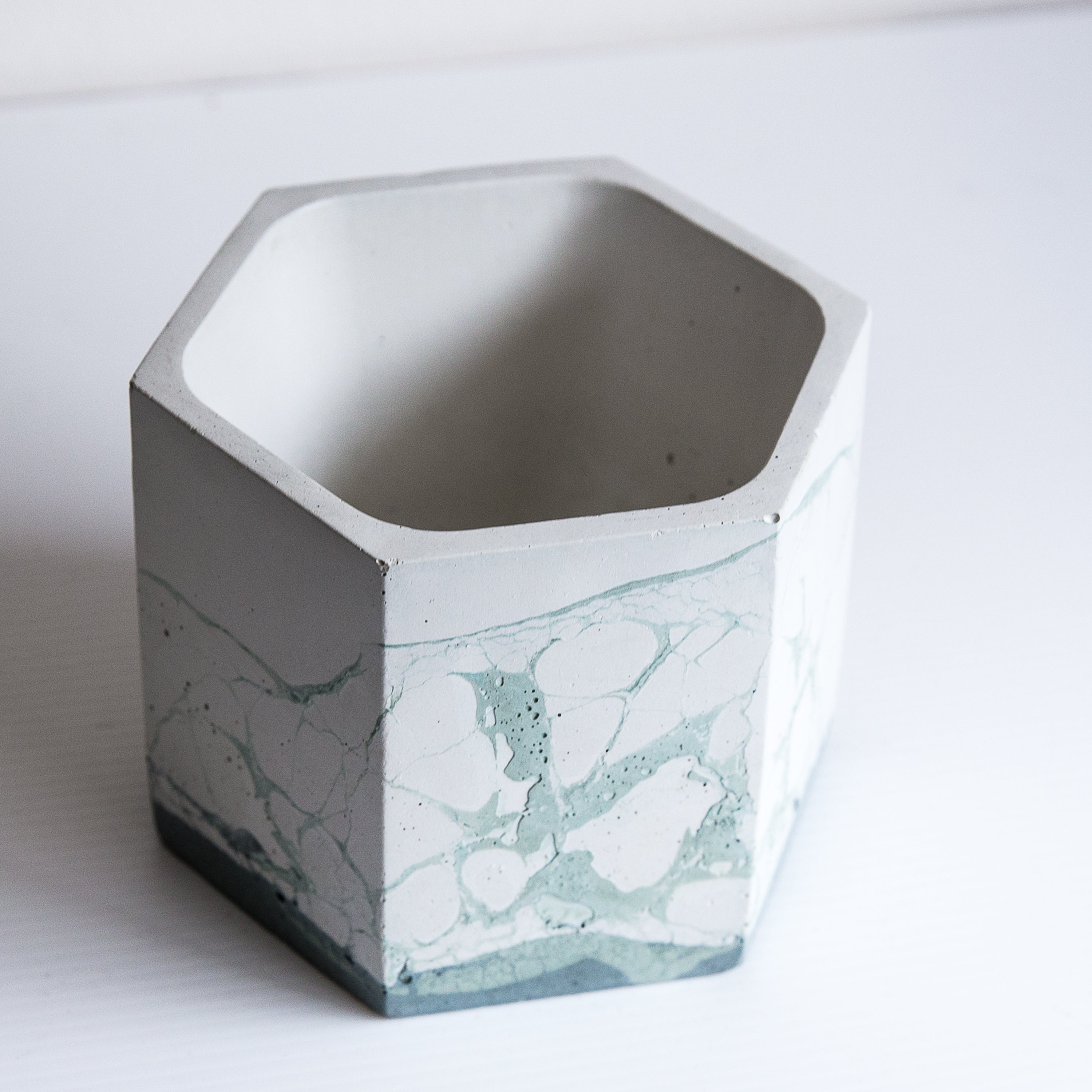Perfect Imperfect Large Hexagon Concrete Planter - Jade