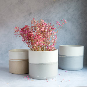 "Large Cylinder Planter 5""- Two Tone"