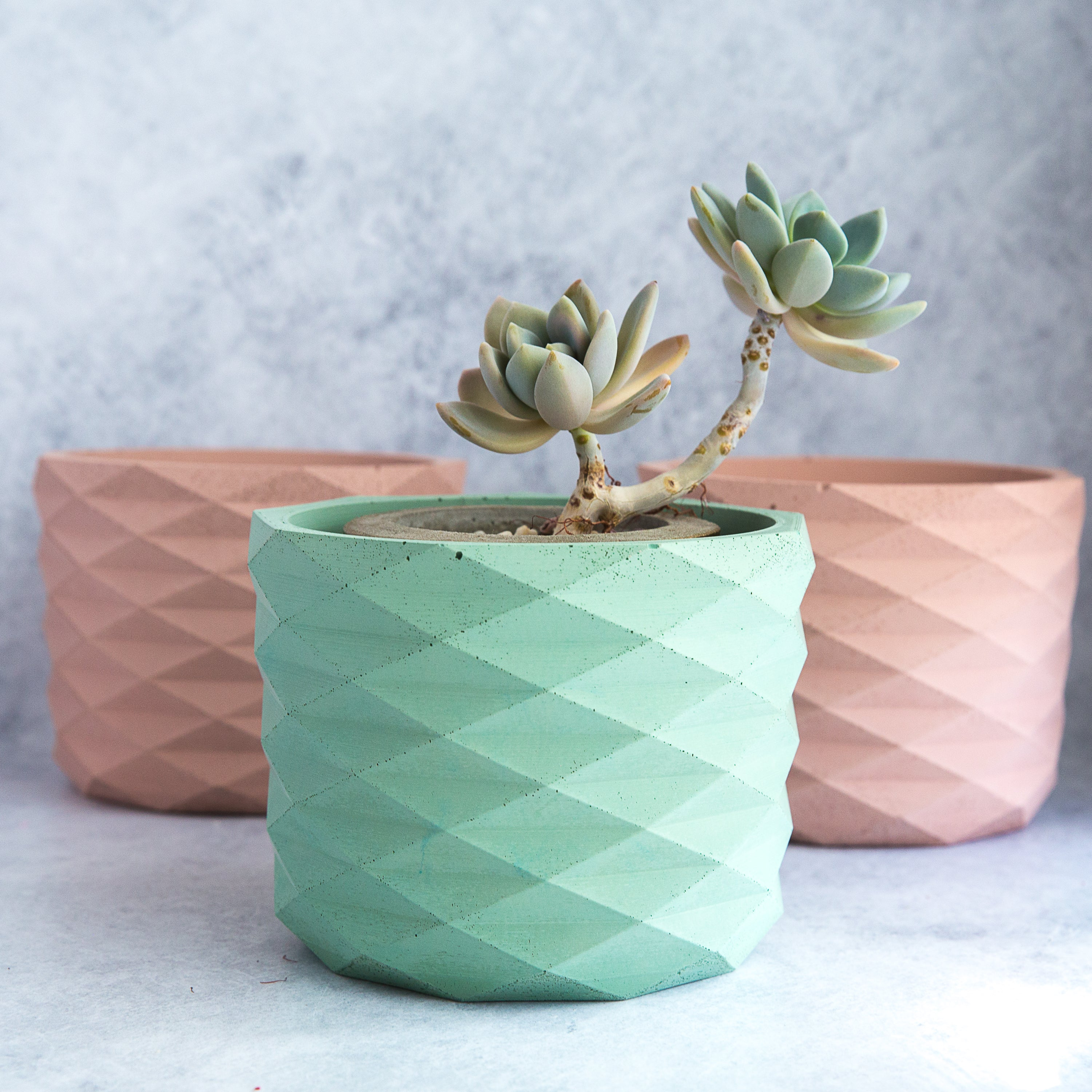 Large Diamond Cut Concrete Planter 5""