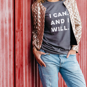 I CAN AND I WILL - 100% organic cotton t-shirt in ANTHRACITE grey