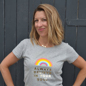 ALWAYS BELIEVE IN YOUR SOUL - 100% organic cotton grey-marl t-shirt with gold foil detail