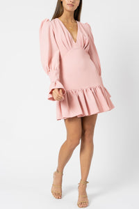 Anna V Tulip Sleeve dress in Pastel Pink - By Johhny