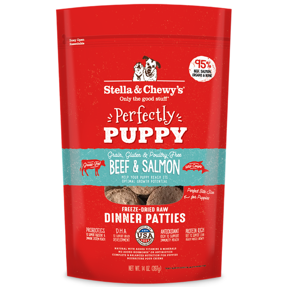 *PROMO* STELLA & CHEWY'S Freeze-Dried Dinner Patties: Perfectly Puppy Beef & Salmon (14oz)