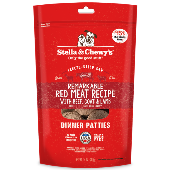 *PROMO* STELLA & CHEWY'S Freeze-Dried Dinner Patties: Remarkable Red Meat Beef, Goat & Lamb (14oz)