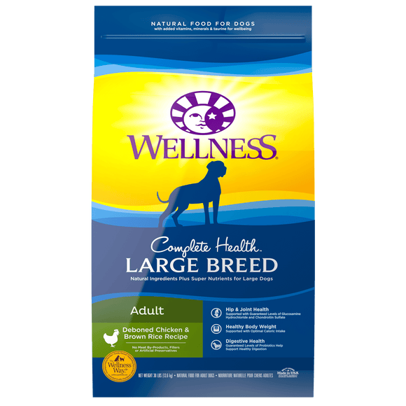 WELLNESS Complete Health Dry Food:Large Breed Adult Deboned Chicken & Brown Rice (30lb)