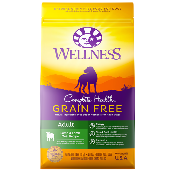 WELLNESS Complete Health Grain-Free Dry Food: Adult Lamb & Lamb Meal (4lb/12lb/24lb)