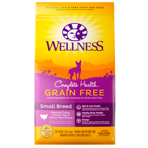 WELLNESS Complete Health Grain-Free Dry Food: Small Breed Adult Deboned Turkey, Chicken Meal & Salmon Meal (4lb/11lb)