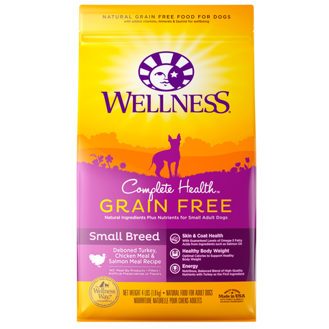 WELLNESS Complete Health Grain-Free: Deboned Turkey, Chicken Meal & Salmon Meal for Small Breed