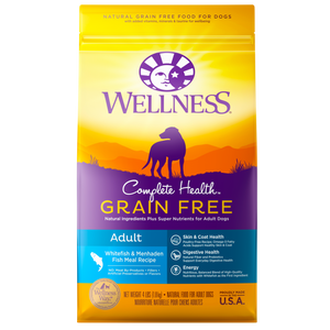 WELLNESS Complete Health Grain-Free Dry Food: Adult Whitefish & Menhaden Fish Meal (4lb/24lb)