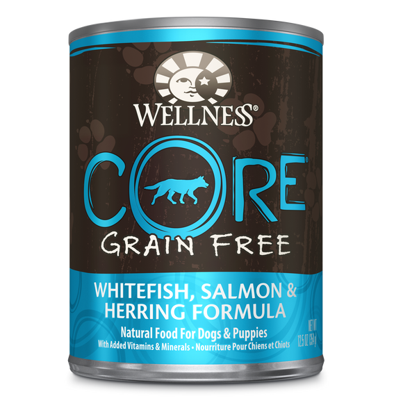 WELLNESS CORE Grain-Free Wet Food Pate: Salmon, Whitefish & Herring (12.5oz)