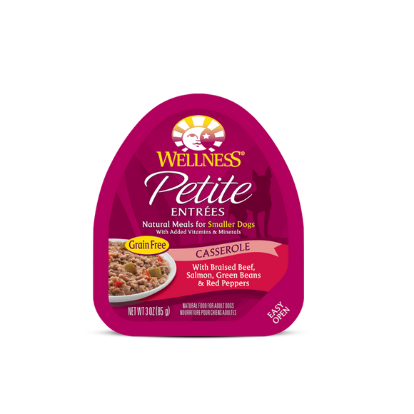 WELLNESS Wet Food Petite Entrees Casserole: Braised Beef, Salmon, Green Beans & Red Peppers (3oz)