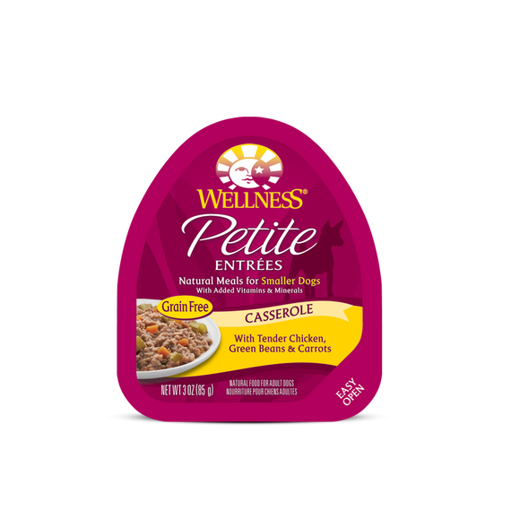 WELLNESS Wet Food Petite Entrees Casserole: Tender Chicken, Green Beans & Carrots (3oz)