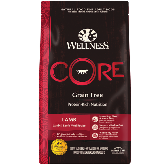 WELLNESS CORE Grain-Free Dry Food: Adult Lamb & Lamb Meal Recipe (4lb/12lb/22lb)