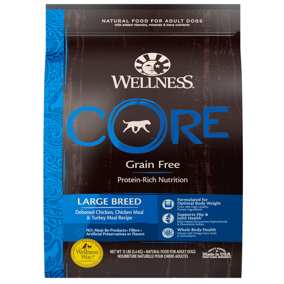WELLNESS CORE Grain-Free Dry Food: Large Breed Adult Deboned Chicken, Chicken Meal and Turkey Meal (24lb)