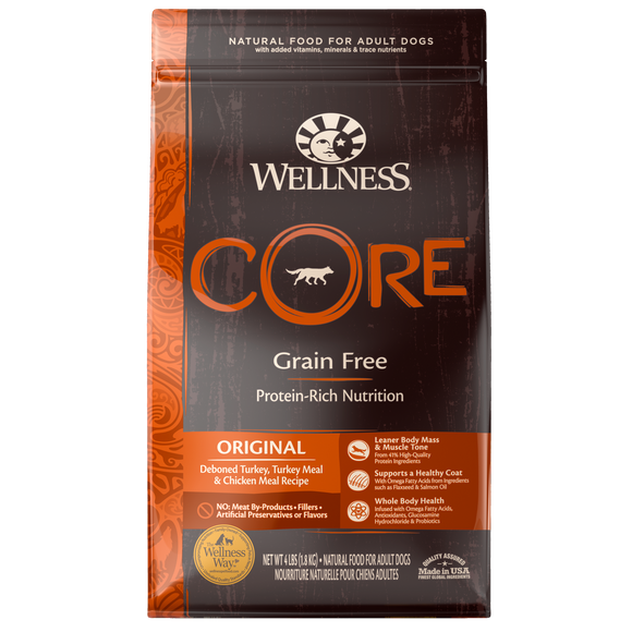 WELLNESS CORE Grain-Free Dry Food: Adult Original Deboned Turkey, Turkey Meal and Chicken Meal (4lb/12lb/24lb)