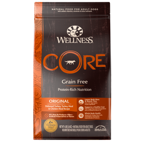 WELLNESS CORE Grain-Free Original Deboned Turkey, Turkey Meal and Chicken Meal (Adult)
