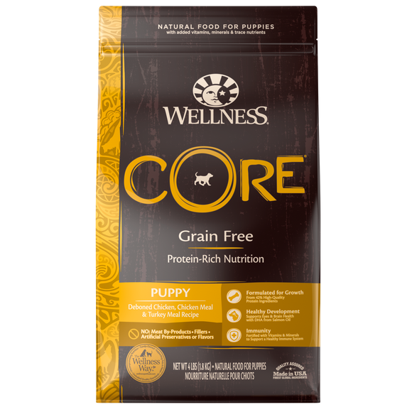 WELLNESS CORE Grain-Free Dry Food: Puppy Deboned Chicken, Chicken Meal and Turkey Meal (4lb/12lb/24lb)