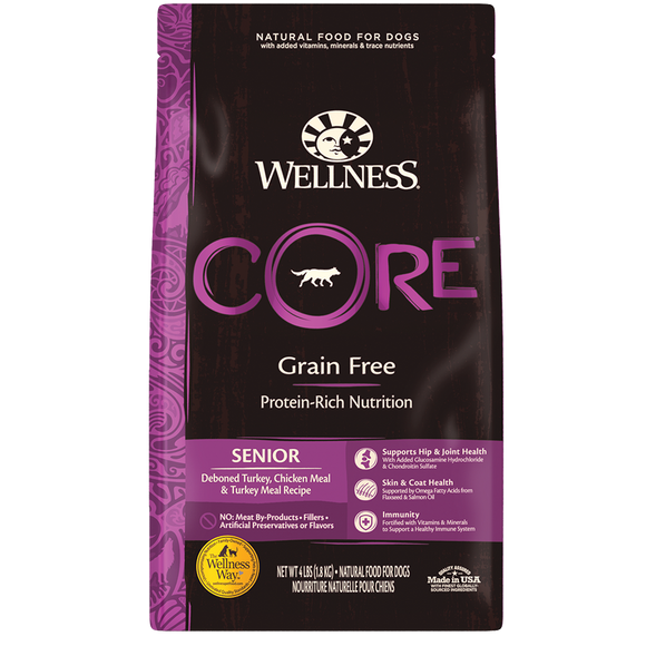 WELLNESS CORE Grain-Free Dry Food: Senior Deboned Turkey, Chicken Meal and Turkey Meal (4lb/12lb/24lb)