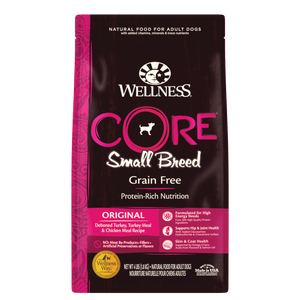 WELLNESS CORE Grain-Free Dry Food: Small Breed Adult Original Deboned Turkey, Turkey Meal and Chicken Meal (4lb/12lb)