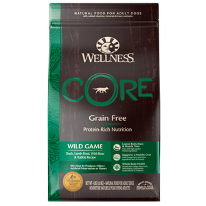 WELLNESS CORE Grain-Free Dry Food: Adult Wild Game Duck, Lamb Meal, Wild Boar and Rabbit (4lb/12lb/22lb)