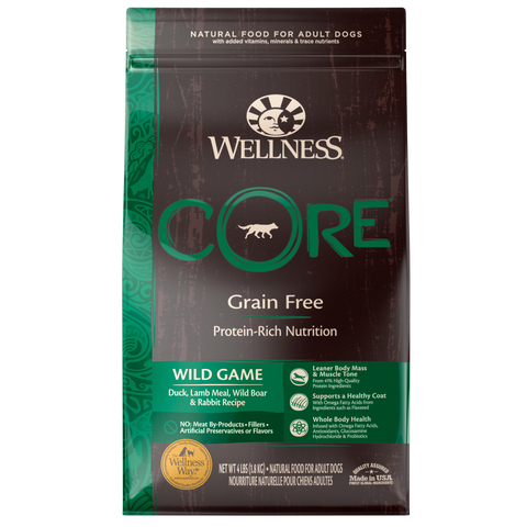 WELLNESS CORE Grain-Free Wild Game Duck, Lamb Meal, Wild Boar and Rabbit Recipe (Adult)