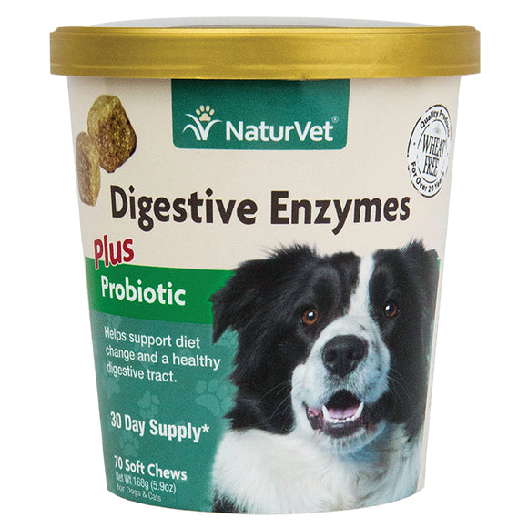 NATURVET Soft Chews: Digestive Enzymes Plus Probiotics (70ct - 30 Day Supply)