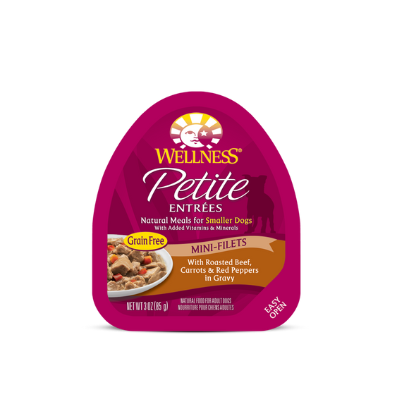 WELLNESS Wet Food Petite Entrees Mini-Filets: Roasted Beef, Carrots & Red Peppers in Gravy (3oz)