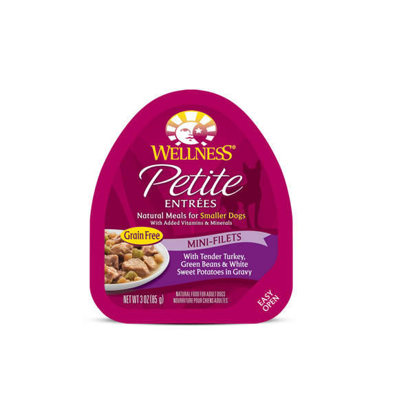 WELLNESS Wet Food Petite Entrees Mini-Filets: Tender Turkey, Green Beans & White Sweet Potatoes in Gravy (3oz)