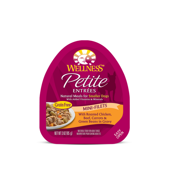 WELLNESS Wet Food Petite Entrees Mini-Filets: Roasted Chicken, Beef, Carrots & Green Beans in Gravy (3oz)
