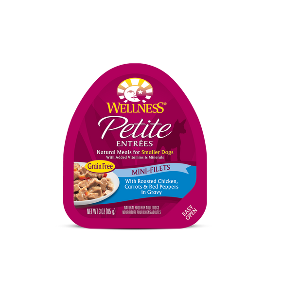 WELLNESS Wet Food Petite Entrees Mini-Filets: Roasted Chicken, Carrots & Red Peppers in Gravy (3oz)