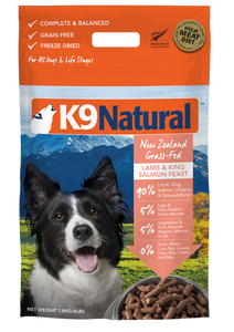 K9 NATURAL Freeze-Dried Dry Food: Lamb & Salmon (100g/500g/1.8kg)