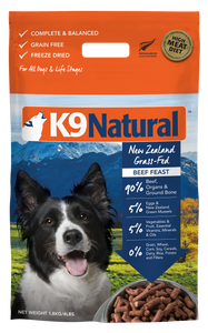 K9 NATURAL Freeze-Dried Dry Food: Beef (142g/500g/1.8kg/3.6kg)