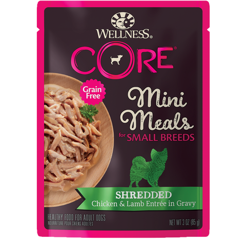 WELLNESS CORE Mini Meals for Small Breed Shredded Chicken & Lamb Entree In Gravy (3oz/85g)