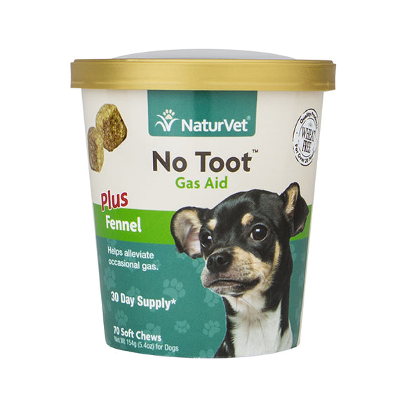 NATURVET Soft Chews: No Toot Gas Aid Fennel (70ct - 30 Day Supply)