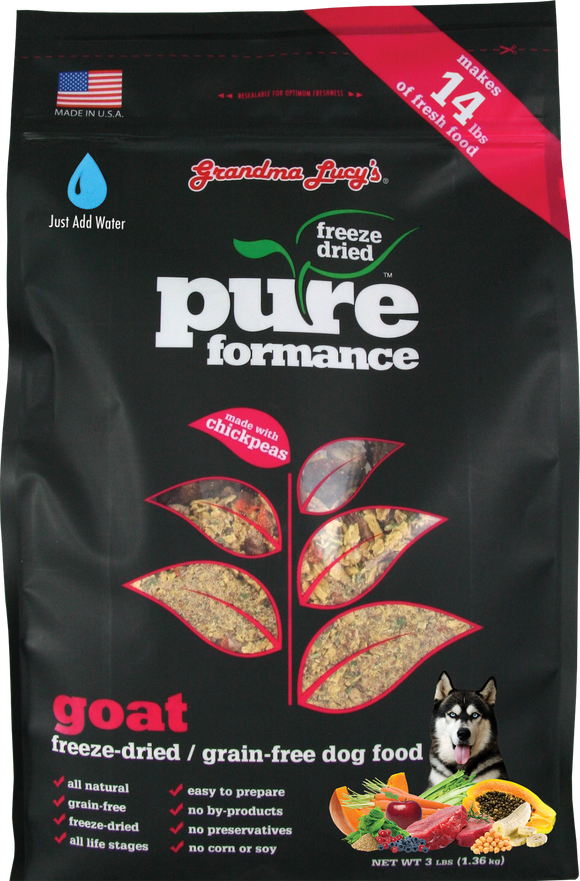 GRANDMA LUCY'S Pureformance Freeze-Dried Dog Food: Goat (3lb)