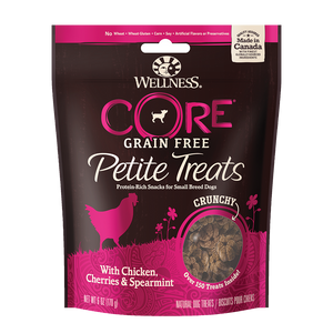 WELLNESS CORE Petite Treats: Small Breed Grain-Free Crunchy Chicken, Cherries & Spearmint (6oz)